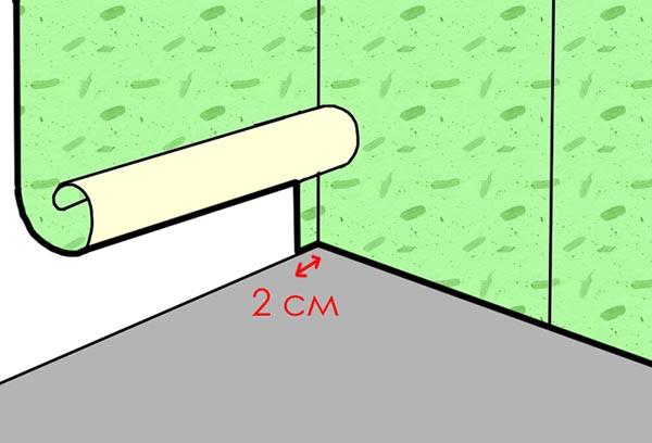 Клеить тонкие обои в углах можно с небольшим нахлестом