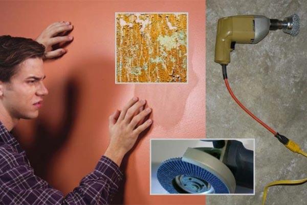Удаление обоев с помощью шлифовальной машинки производится в особо сложных случаях