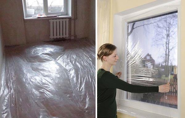 При удалении старой краски образуется большое количество пыли и грязи, поэтому все необрабатываемые поверхности и стационарные предметы нуждаются в защите