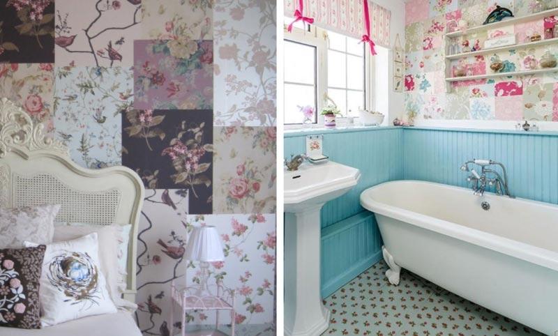Пэчворк в интерьере спальни и ванной