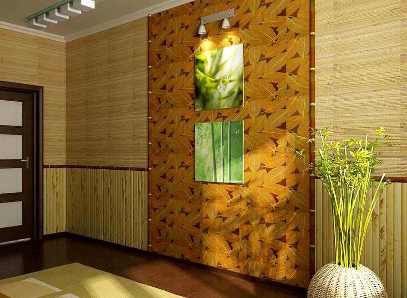 Комбинация из двух видов бамбуковых обоев
