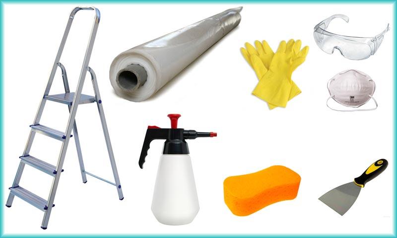 Необходимые инструменты и материалы для смывки побелки