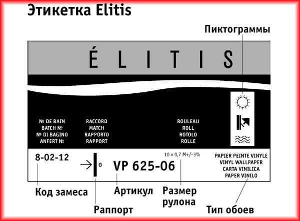 Обозначения на заводской этикетке у обоев