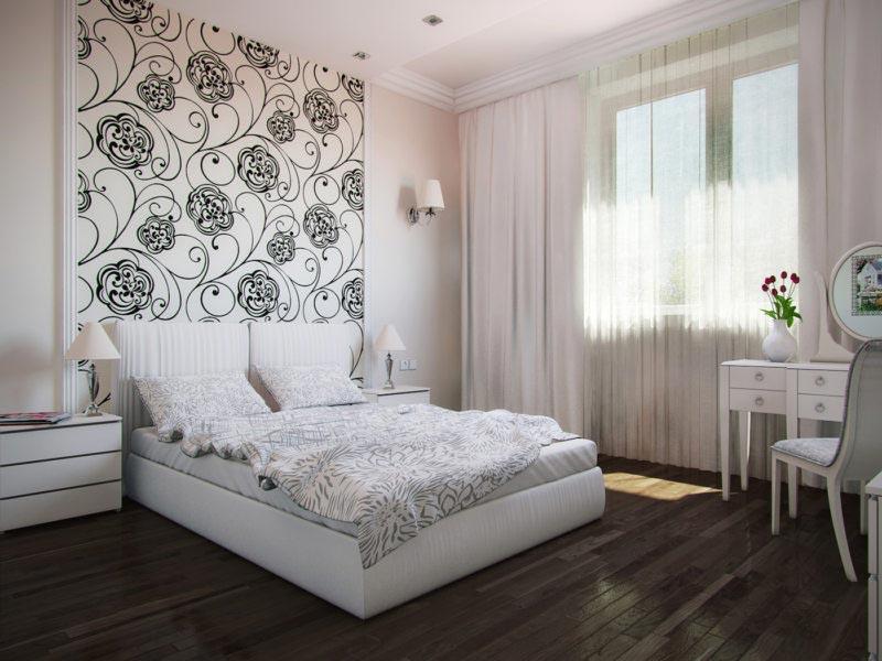 Спальня в светлых тонах с ярким акцентом у изголовья кровати
