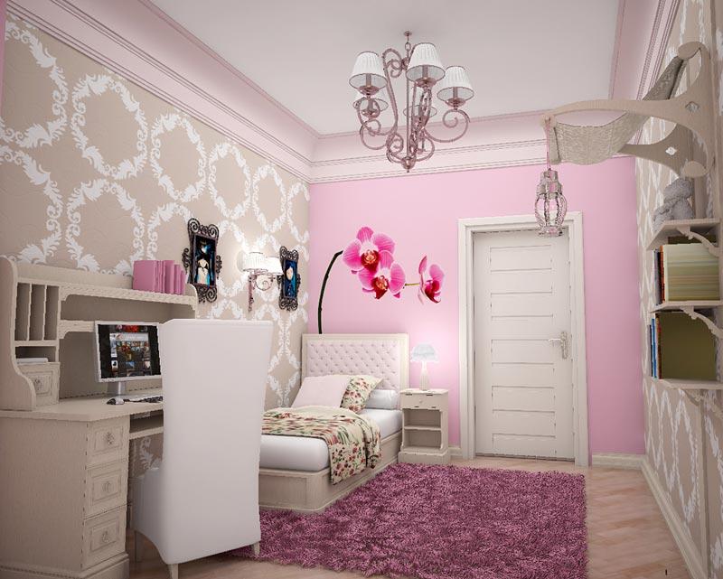 Комната в пастельно-розовом цвете