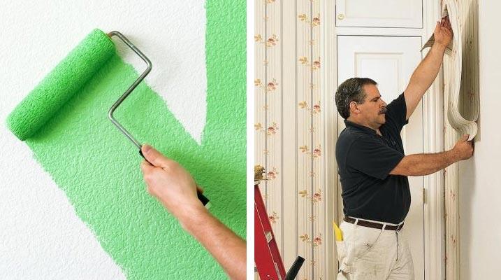 Нанесение краски и наклеивание обоев на стены