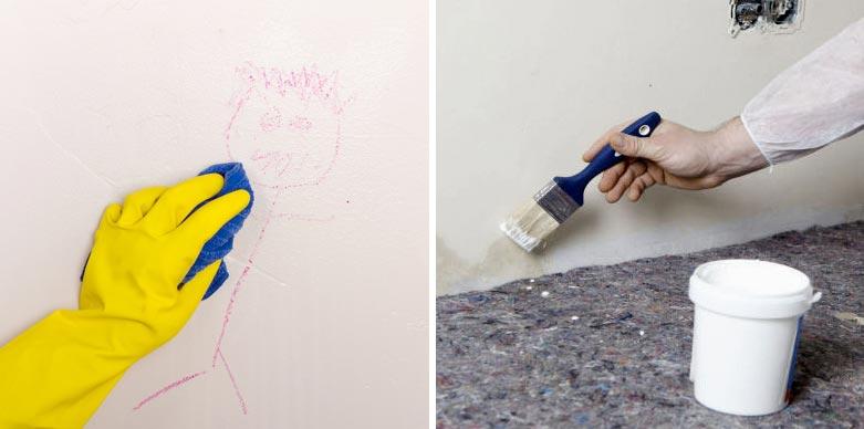 Окрашенные стены можно легко отмыть от загрязнений, а трудновыводимые пятна просто закрасить