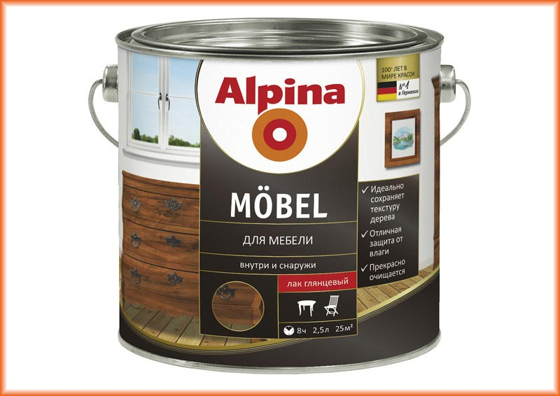 Мебельный лак Alpina Mobel - подчеркивает структуру дерева и защищает от влаги