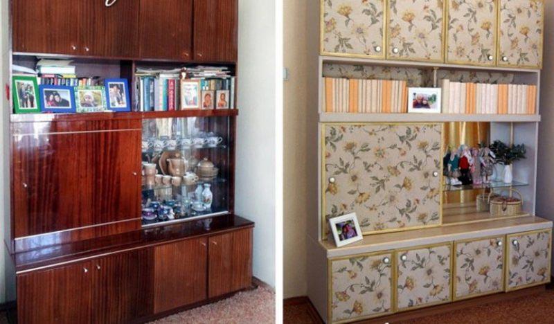 Лакированная мебель до и после окрашивания с декорированием