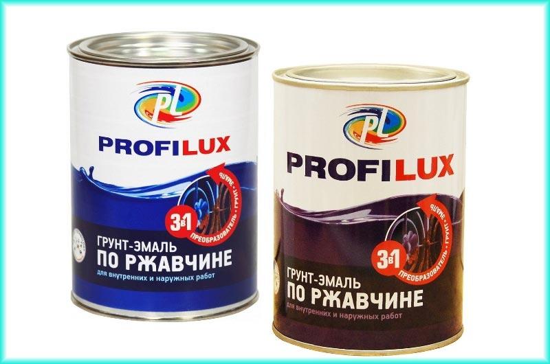 Краска Profilux объединяет в себе свойства грунтовки по металлу, антикоррозийной краски и эмали по металлу