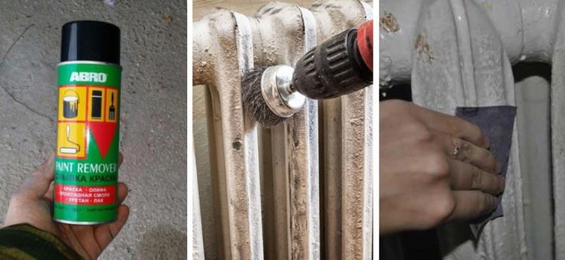 Снять старую краску с батареи можно при помощи смывки или механическим способом, используя электроинструмент и наждачную бумагу