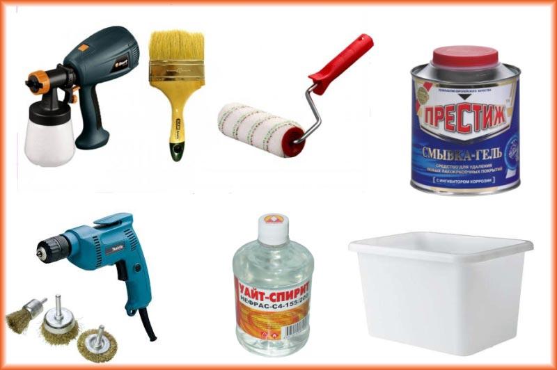 Инструменты и материалы для окрашивания