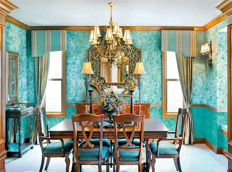 Жидкие обои подойдут не только для современных интерьеров, но и для комнат в классическом стиле