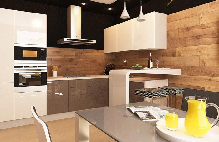 Комбинированная отделка стен кухни
