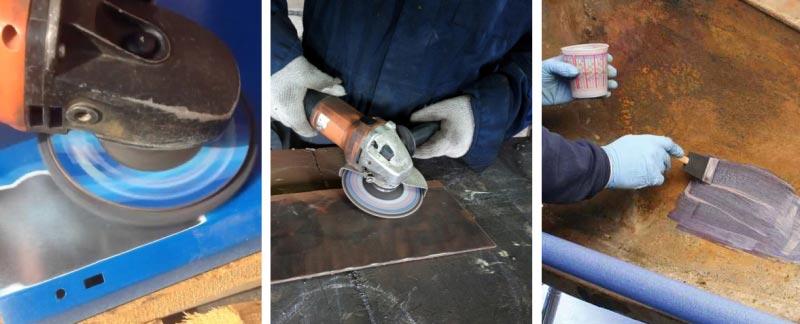 Основные этапы подготовки поверхности к окрашиванию: снятие старой краски и удаление ржавчины болгаркой, нанесение грунтовки