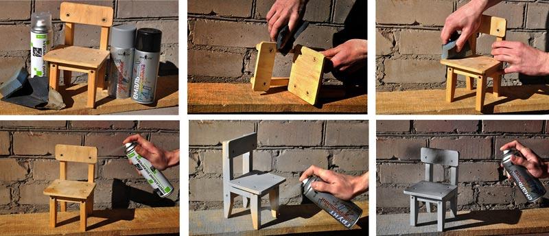 Этапы подготовки и окрашивания деревянного изделия: ошкуривание, удаление пыли, обезжиривание, грунтовка и окрашивание