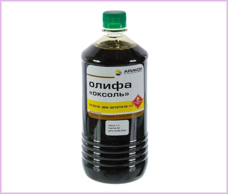 Олифа Оксоль на 55% состоит из натурального масляного компонента, на 40 – из растворителя, уайт-спирита, на 5% из сиккатива, поэтому по сравнению с натуральной олифой ее стоимость ниже и сохнет она быстрее