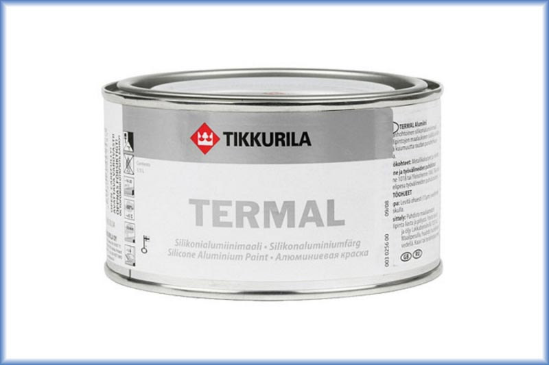 Алюминиевая краска на основе силиконовой смолы Tikkurila Termal выдерживает температуру до 600°С, придает поверхности алюминиевый цвет с металлическим блеском