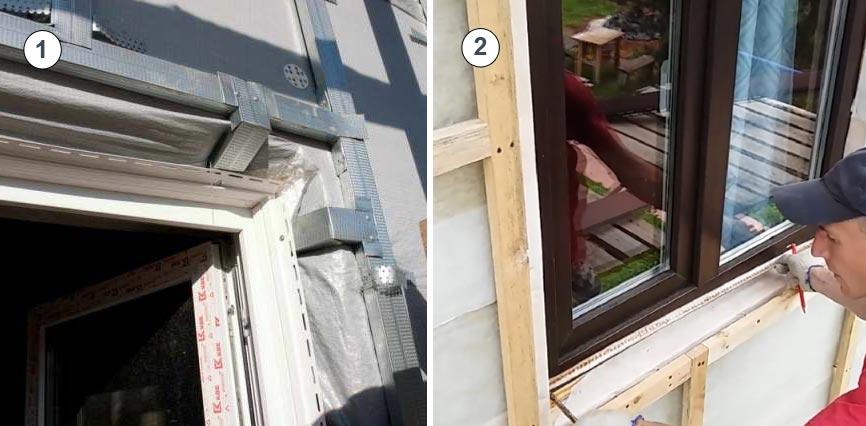 Обрамление проемов: 1 - металлическим профилем, 2 - деревянным брусом