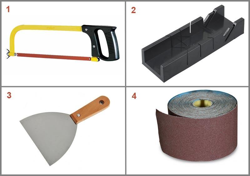 Инструменты, необходимые для работ по установке потолочного плинтуса